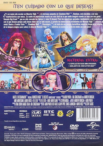 monster high 13 trece deseos pelicula dvd