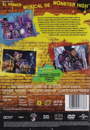 monster high buu york un musical monsterrifico pelicula dvd