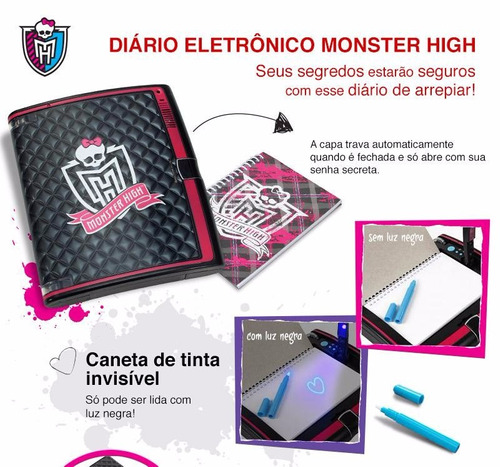 monster high - diário eletrônico bbr25 - mattel