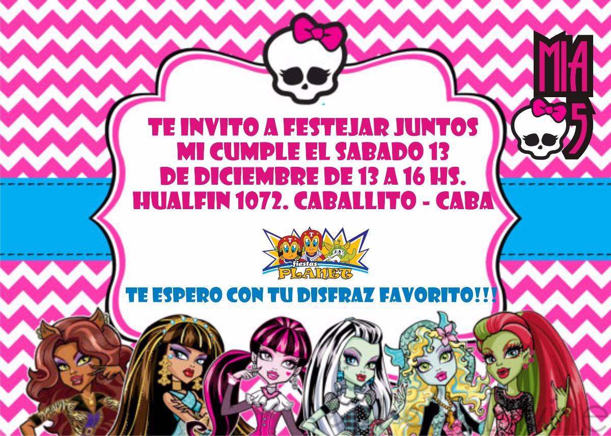 Monster High Invitaciones Tarjetas Cumpleaños Personal X20 - $ 120 ...