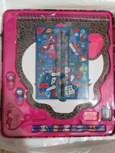 monster high maleta con útiles escolares para niñas