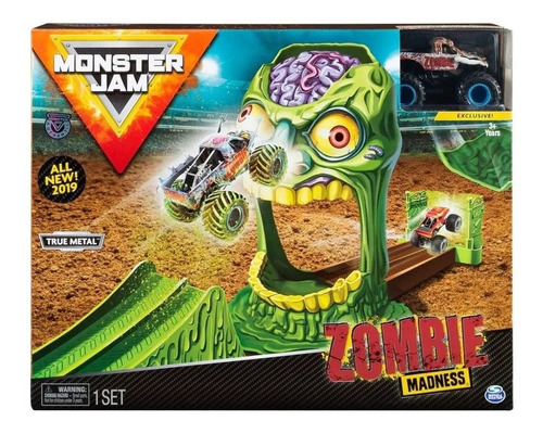monster jam pista playset rampa zombie alien invasion vehicu
