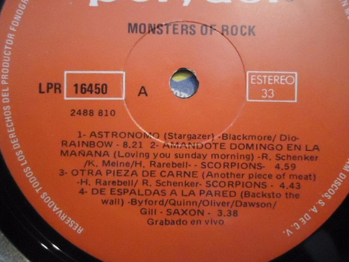 monsters of rock / grabado en vivo vinyl lp acetato