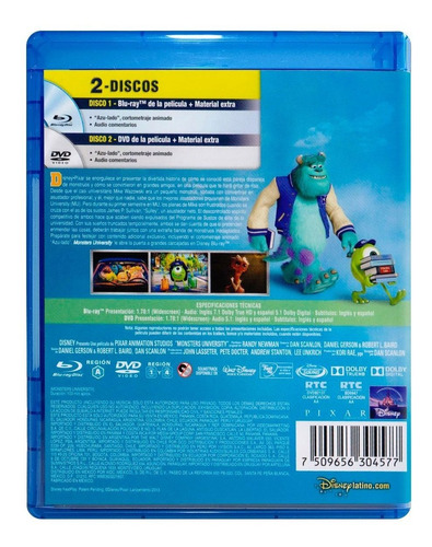 monsters university disney pixar pelicula blu-ray + dvd