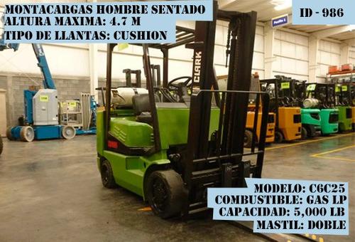 montacargas clark 5000 lb gas lp modelo c6c25