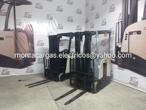 montacargas electrico marca crown para pasillos angostos