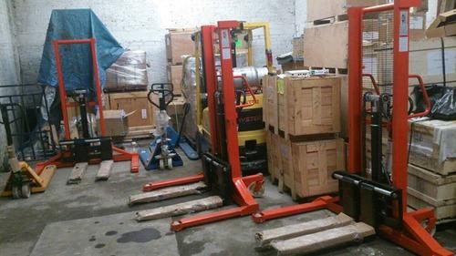 montacargas manual patas anchas capacidad 1000kg apilador