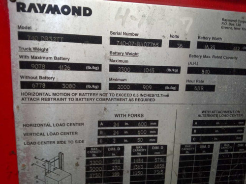 montacargas raymond doble reach pasillo angosto 7.30mts. #77