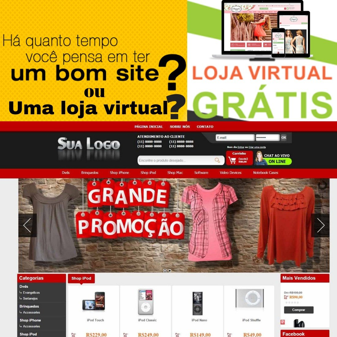 fa0ff6e46 montar ou criar loja virtual grátis s  menssalidades sites. Carregando zoom.