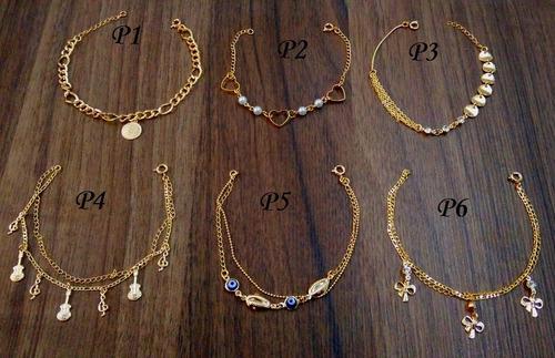monte seu kit escolha 10 pulseiras folheadas