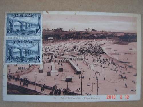 montevideo 1931. playa ramirez -  antigua postal.