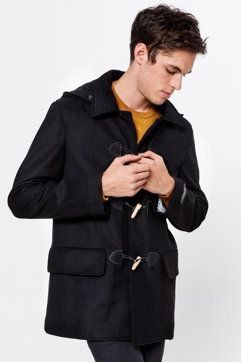 más popular el precio se mantiene estable auténtica venta caliente Montgomery De Hombre Bensimon Paño Negro Invierno Abrigo