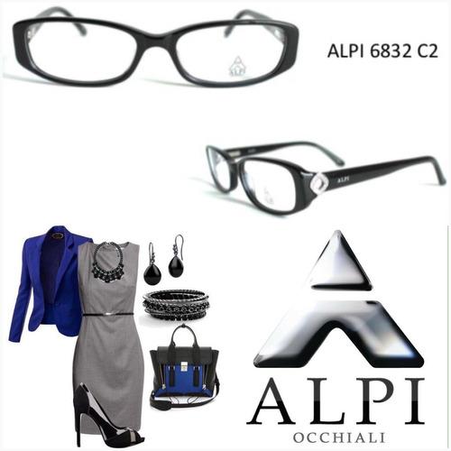 montura de lentes de dama alpi, de pasta con cristales +3