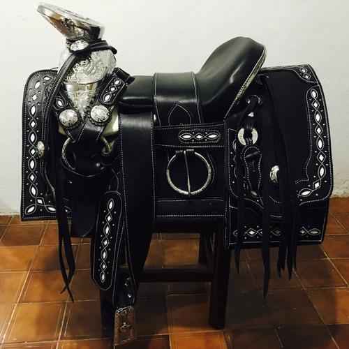 montura o silla fina vaqueta con acero charra caballo montar