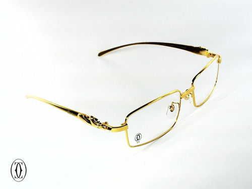 153b9fb968c44 Montura Óptica Cartier® 53°18 Gold Panthere© Opt0001 France ...