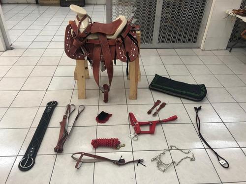 montura silla charra caballo piel, redonda fuste 15 paquete