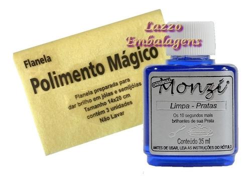 monzi limpa pratas 35ml original produto + flanela