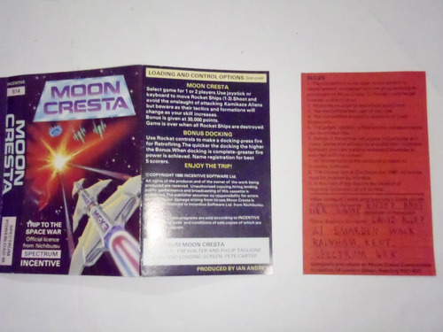 moon cresta powerplay sinclair spectrum + budgeter timex