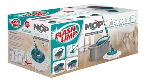 mop girátorio fit spin esfregão microfibra 360 flash limp