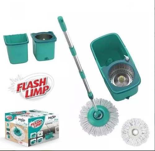 mop pró flash limp girátorio esfregão inox 360° com 2 refil