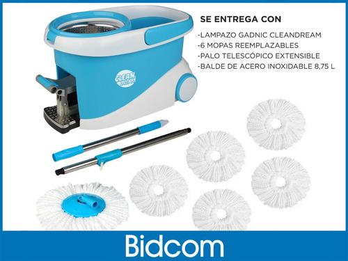 mopa 360° trapeador + 6 mopas + pedal acero inoxidable lampa