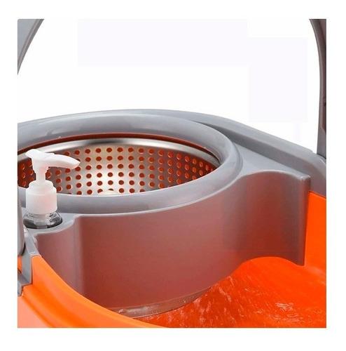 mopa centrífuga lampazo giratorio balde escurridor acero inoxidable plástico duro resistente con rueditas sin pedal