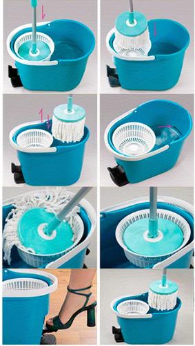 mopa giratoria 360º con pedal trapeador portatil, limpieza