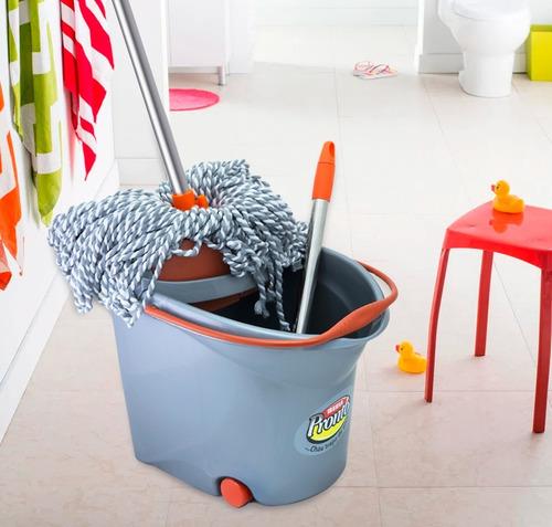 mopa lampazo + balde escurridor seca mop + 1 repuesto
