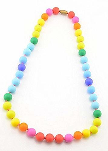 mordedor  collar de silicona para dentición rainbow pa...