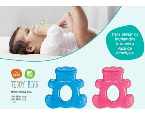 mordedor para bebê macio resfriável ted bear rosa ou azul