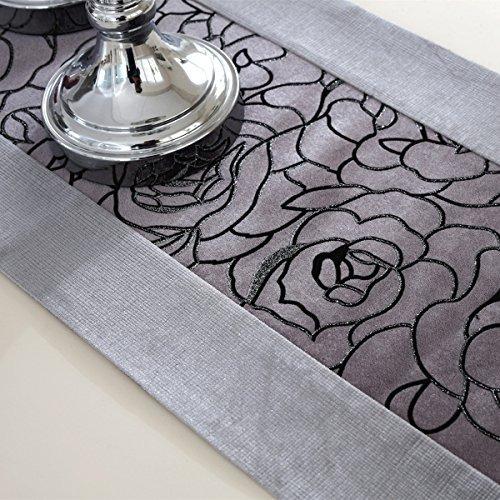 morden gris de flores bordadas caminos de mesa de terciopel