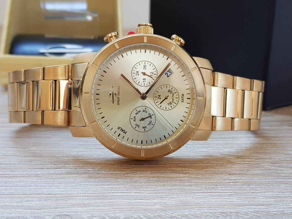 49a448add36 Carregando zoom... relógio mormaii feminino maui aço dourado ...