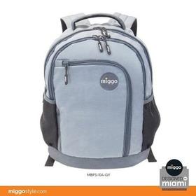 Morral Bolso Miggo Azul Osc Y Gris Escolar Y Laptop 15 PuLG