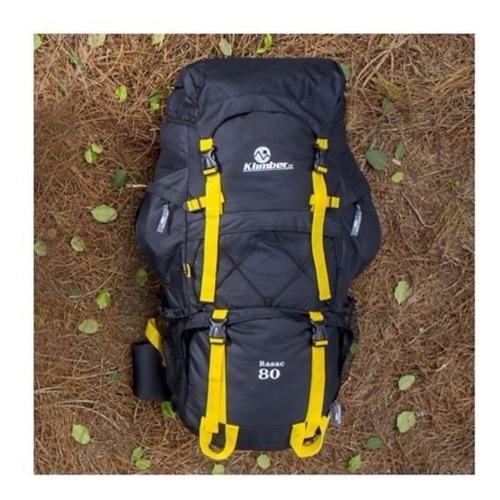 morral para camping 80 litros color negro y amarillo