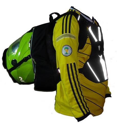 morral porta casco reflectivo, maleta chaleco moto 2 en 1