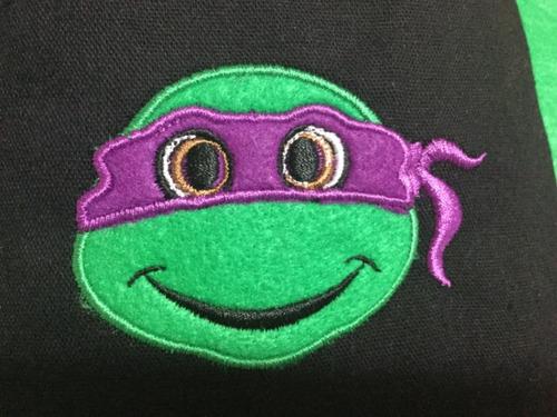 morralito dulcero bordado, fiesta tortugas ninja  24 x 19 cm