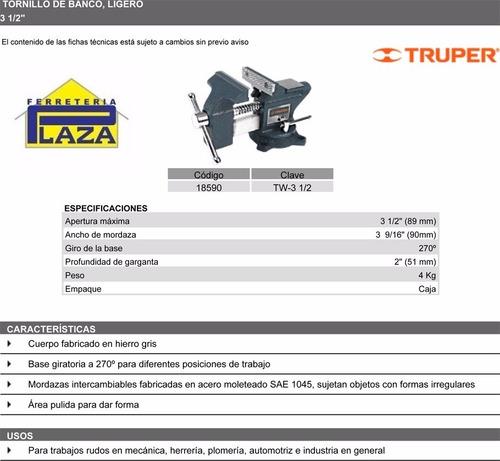 morsa fija base giratoria 3 1/2 profesional garantía truper