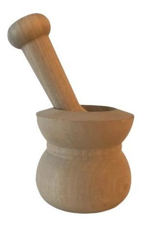 mortero chico resistente de madera dura tornada con pisón ideal moler especias condimentos semillas cocina almacén baum