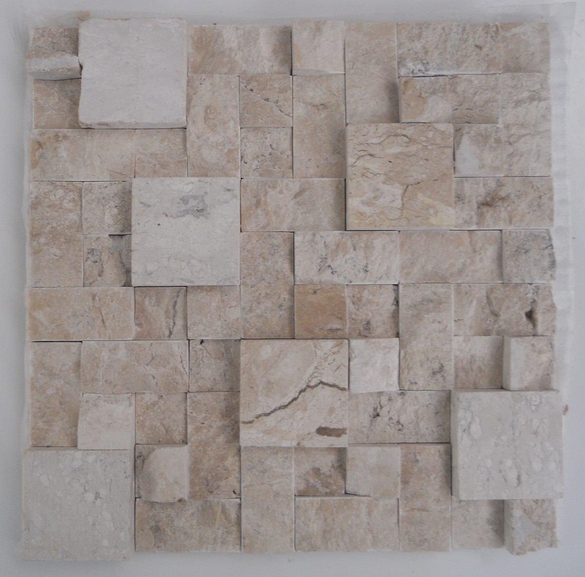 Mosaico De Mármore Branco/mármore Travertino Bege Bahia tela R$ 16  #655A52 1200x1183 Banheiro Branco Com Piso Bege