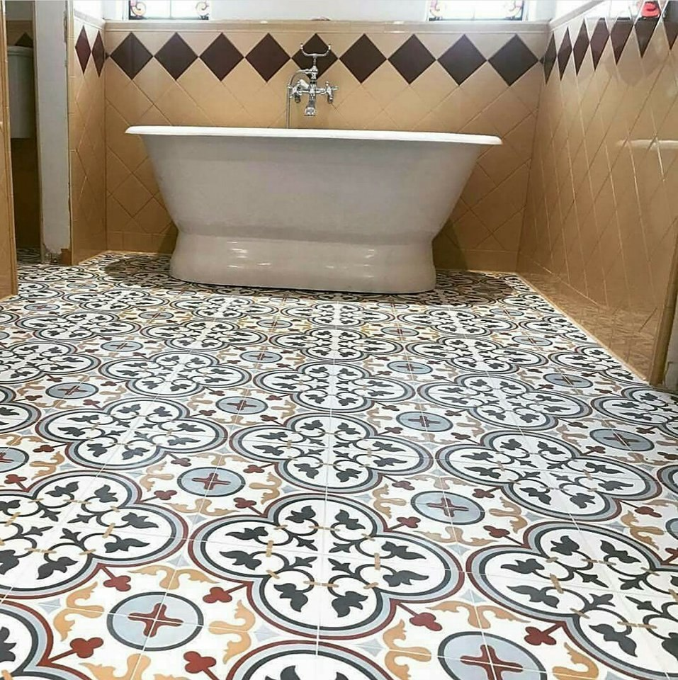 Mosaico de pasta decorado piso hidraulico en for Mosaico para piso