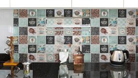 Mosaico De Vidrio Decorado Piu Cafetal Cocina 30x30el Mastil
