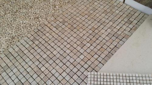 mosaico mármore travertino, pastilhas 10x10 sem tela, soltas