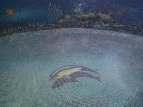 mosaico veneciano delfin amarillo con sombra para alberca
