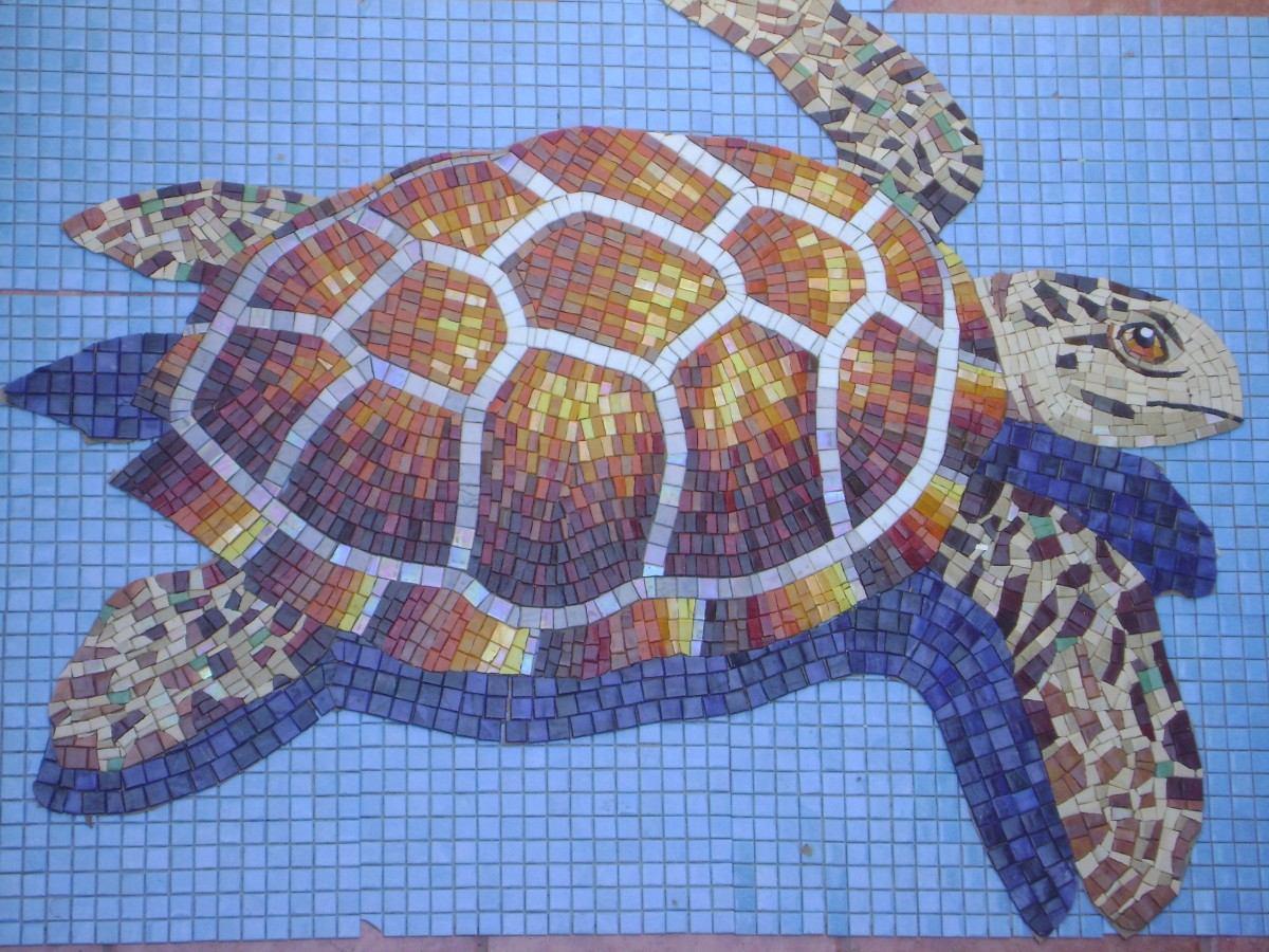 Mosaico veneciano figura tortuga marina para alberca for Mosaicos para patios precios