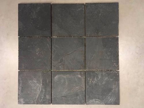 mosaicos de piedra natural ardosia negra 10x10cm (30x30 cm)