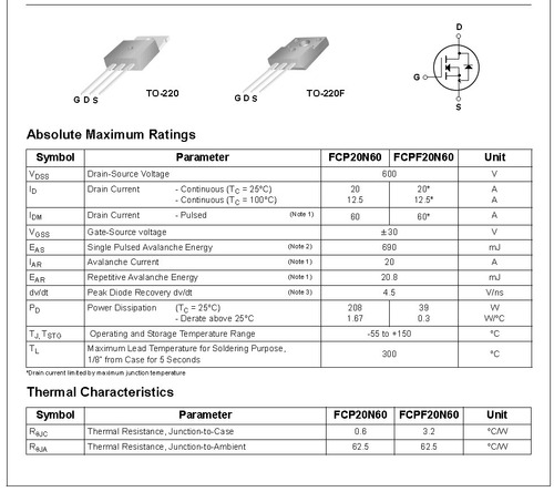 Fqpf20n60c datasheet