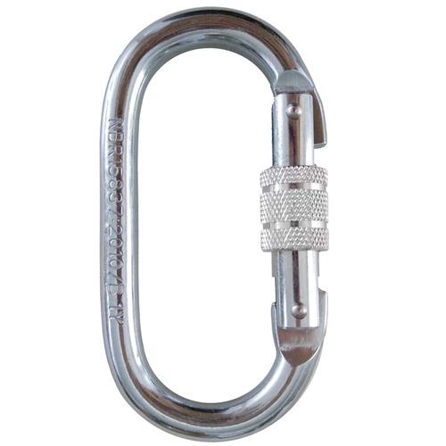 mosquetão oval aço 25kn - 2550kg trava roscada norma nbr