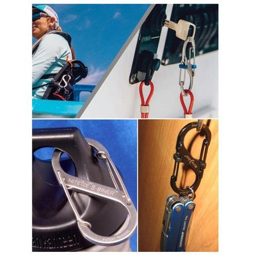 mosquetón negro doble con seguro #4 slide lock nite ize