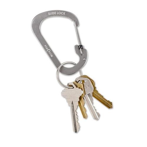 mosquetón plateado con seguro #2 slide lock nite ize