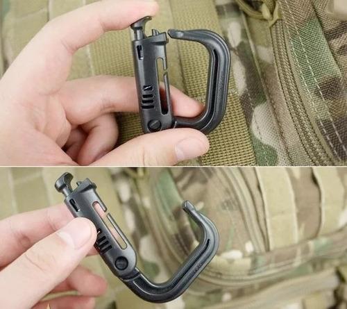 mosqueton táctico militar edc para sistema molle 4 piezas